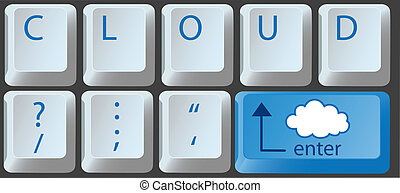 Cloud computing key on computer keyboard - Enter the cloud...