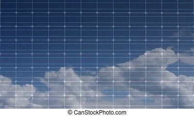 Solar panel with time lapsed clouds
