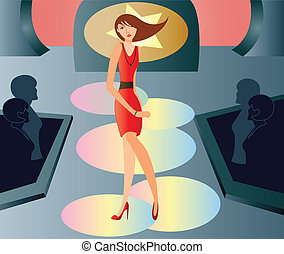 catwalk fashion - is a ilustracion of a woman in a catwalk...