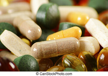 Composition with dietary supplement capsules and tablets