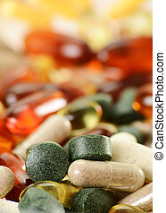 Composition with dietary supplement capsules and tablets...