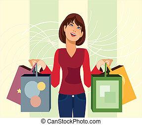 Shopaholic. - is a ilustracion of a woman who is shopaholic...