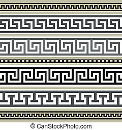 Set of greek geometric borders - Collection of antique...