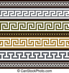 Set of vector greek borders - Collection of antique greek...