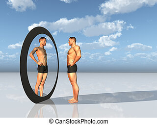 Man sees other self in mirror - Man sees other self in...