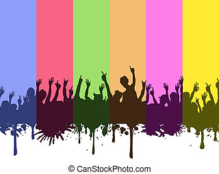 rock crowds on rainbow background