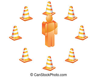 3D symbol people with traffic cones