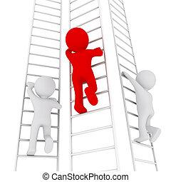 3D man climbing up the ladder - three 3D men climbing up the...