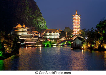 Guilin China - Mulong Pagoda also known as the Mulong Tower...