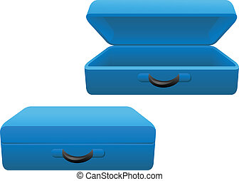blue suitcase - a set of open and closed blue travelling...