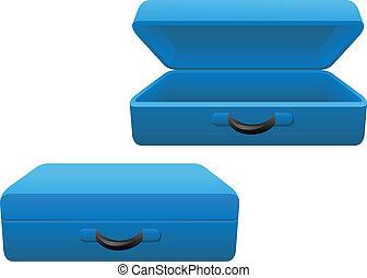 azul, maleta