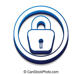 3d glossy lock icon