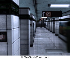 Metro station. Tube. Underground - Fast moving people at...