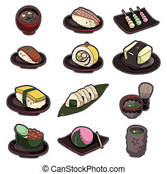 cartoon Japanese food icon set