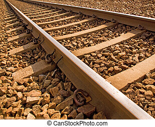 Close up of railroad track in bright sunshine