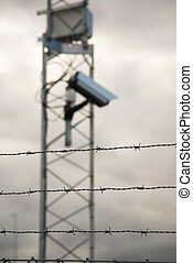 Surveillance camera and barbed wire - Defocused surveillance...