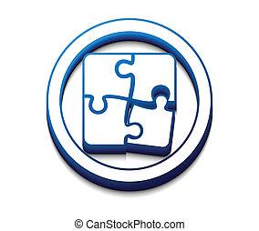puzzle web icon - vector 3d glossy puzzle web icon design...