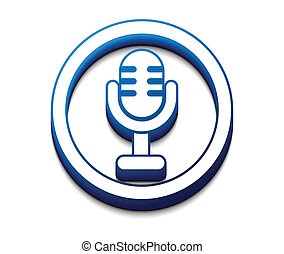 3d glossy mic icon, vector illustration.