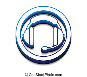 3d glossy headset web  icon, vector illustration.