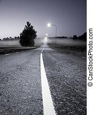 Road in evening fog