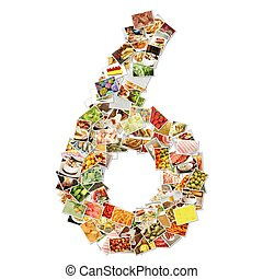 Number 6 Six with Food Collage Concept Art