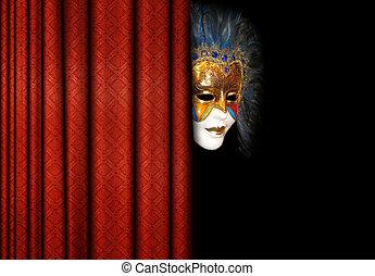 máscara, atrás, teatro, cortinas