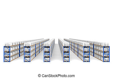 Shelves x 60. Top Perspective view, shadows. Part of a Blue...