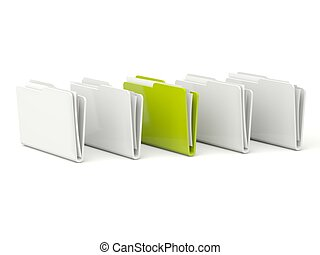 Green folder with documents isolated on white