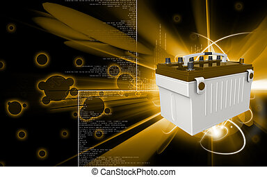 Battery range - Digital illustration of a battery range in...