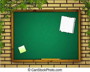 blackboard at brick wall
