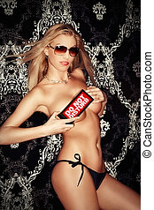 Sexy topless young blonde lady showing quot;do not...