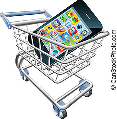 Smart phone shopping cart concept - An illustration of a...