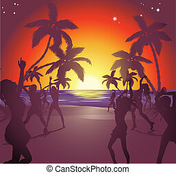 Sunset beach party illustration - Illustration of dancers on...