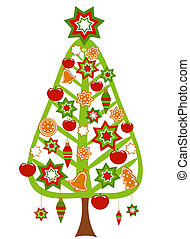 Christmas tree decorated - Christmas tree with colorful...