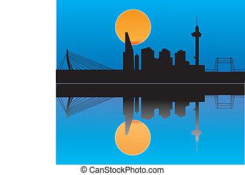 rotterdam city skyline by night