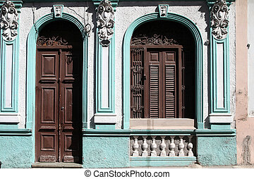 Santiago de Cuba - beautiful colonial architecture. Door and...
