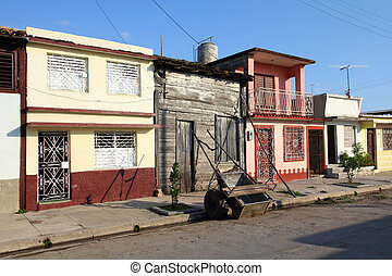 Town in Cuba - Cuba - colonial town architecture. Old town...