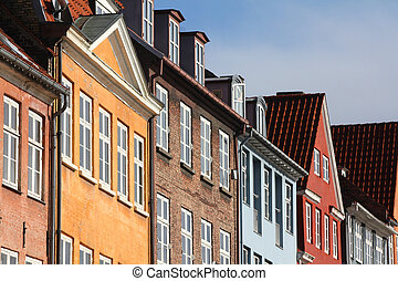 Copenhagen, Denmark - colorful buildings of Nyhavn street....