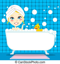 Soothing Bubble Bath - Pretty blond woman with white towel...