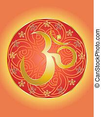 hindu om symbol - an illustration of a hindu om symbol in...