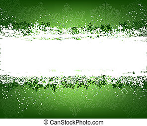 Green winter background with snowflakes