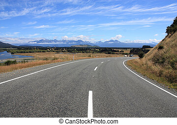 New Zealand - Road along Waiau River - beautiful landscape...