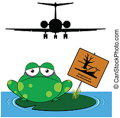 environment message - Frog with danger to the environment...