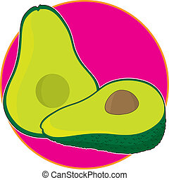 Avocado Graphic - An avocado that has been sliced in half on...
