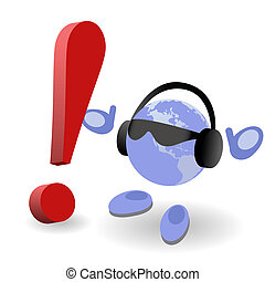 The round man and red exclamation mark - The round man and...