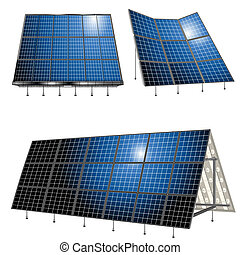Alternative energy, solar panels over white background