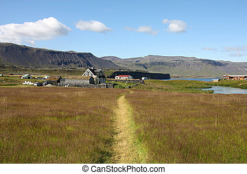 Iceland - Snaefellsnes - Grassland path in Snaefellsnes...