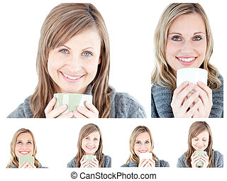 Collage of young women drinking a hot drink