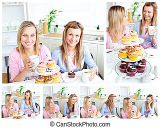 Young beautiful women ready for a snack - Collage of young...