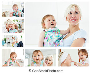 Collage of a blonde woman holding a baby in the living room...